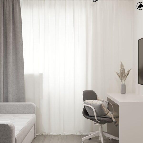 Дизайн-проект интерьера квартиры по улице Полтавский Шлях, кабинет с видом на рабочую зону