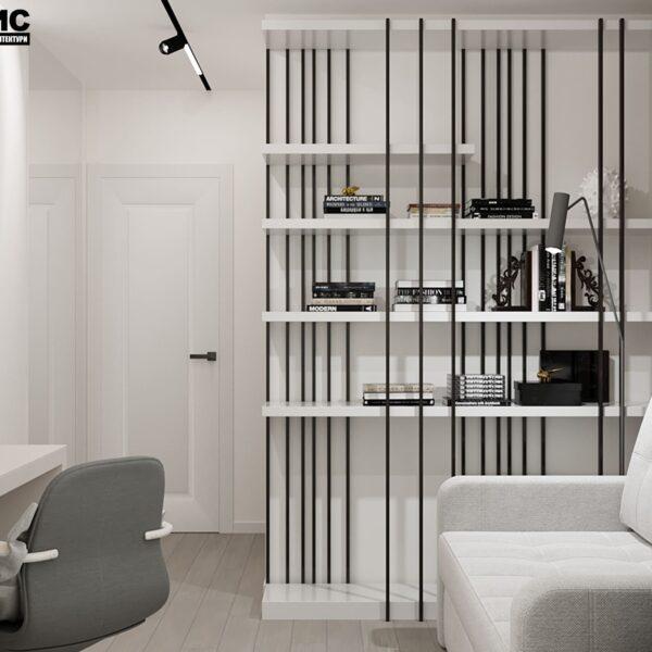 Дизайн-проект интерьера квартиры по улице Полтавский Шлях, кабинет с видом на полки