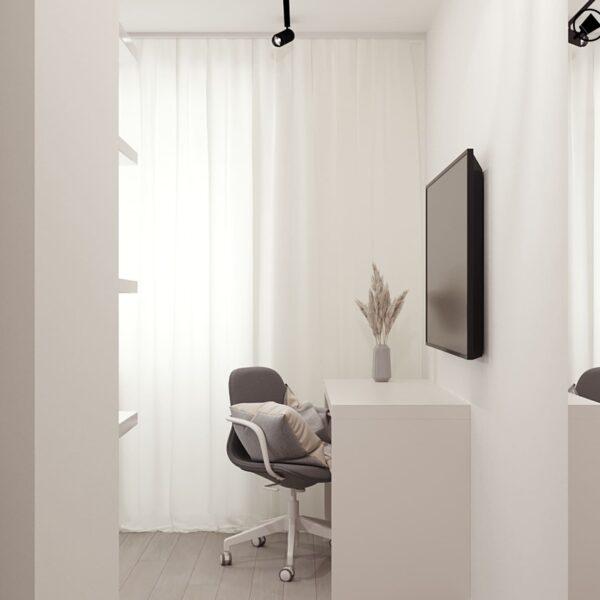 Дизайн-проект інтер'єру квартири по вулиці Полтавський Шлях, кабінет з видом від входу