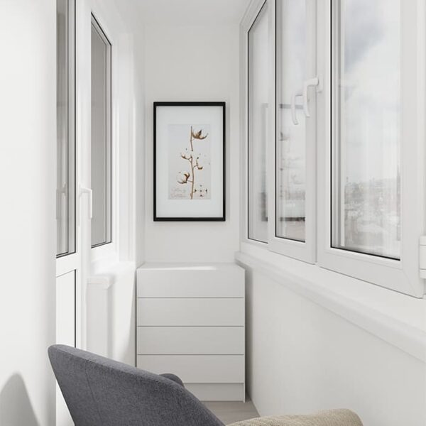 Дизайн-проект интерьера квартиры по улице Полтавский Шлях, лоджия с видом на картину