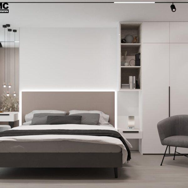 Дизайн-проект интерьера квартиры по улице Полтавский Шлях, спальня с видом на кровать по центру