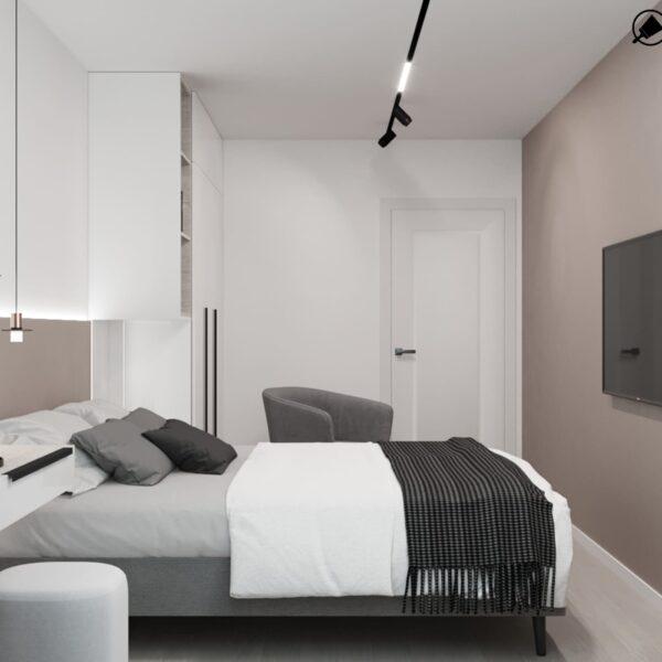 Дизайн-проект інтер'єру квартири по вулиці Полтавський Шлях, спальня з видом праворуч