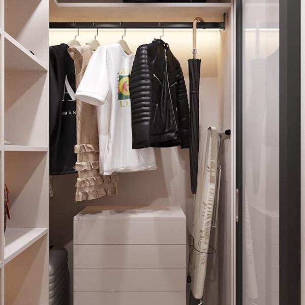 Дизайн-проект інтер'єру квартири по вулиці Полтавський Шлях, гардероб з видом праворуч