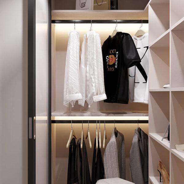 Дизайн-проект інтер'єру квартири по вулиці Полтавський Шлях, гардероб з видом ліворуч
