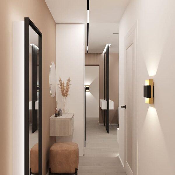 Дизайн-проект інтер'єру квартири по вулиці Полтавський Шлях, вітальня з коридором до дверей