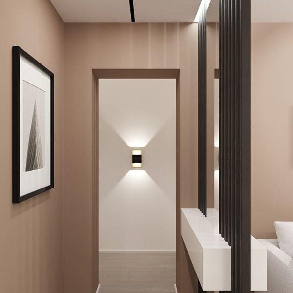 Дизайн-проект интерьера квартиры по улице Полтавский Шлях, гостиная вид на входную дверь