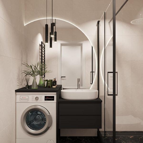 Дизайн-проект интерьера квартиры по улице Полтавский Шлях, санузел вид на стиральную машину