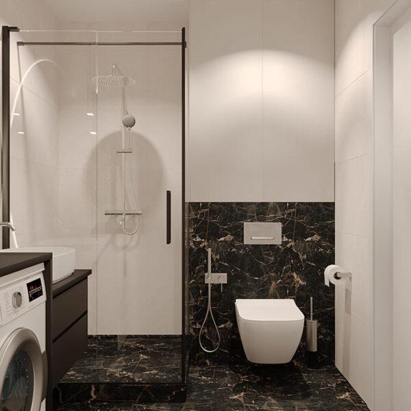 Дизайн-проект інтер'єру квартири по вулиці Полтавський Шлях, санвузол з видом на сантехніку
