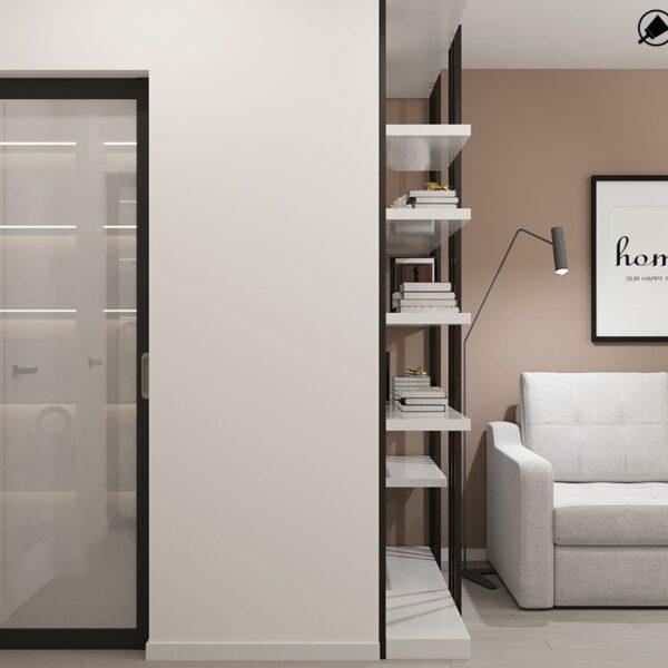 Дизайн-проект интерьера квартиры по улице Полтавский Шлях, прихожая с видом на диван и полки