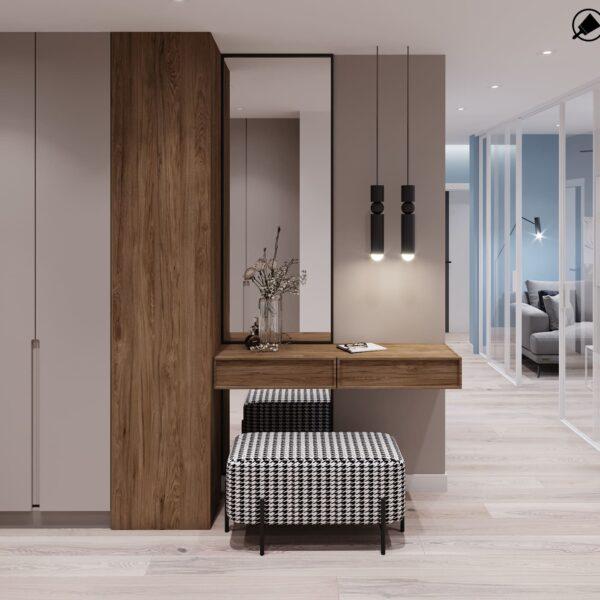 """Дизайн-проект інтер'єру трикімнатної квартири ЖК """"Пролісок"""", передпокій вид на дзеркало"""