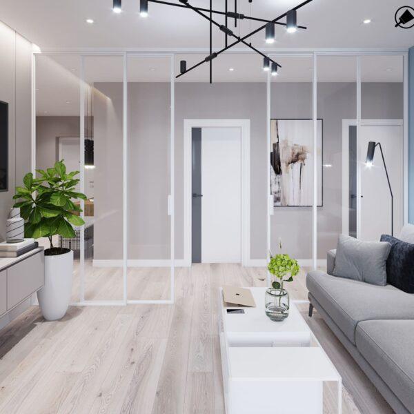 """Дизайн-проект інтер'єру трикімнатної квартири ЖК """"Пролісок"""", вітальня вид від вікна"""