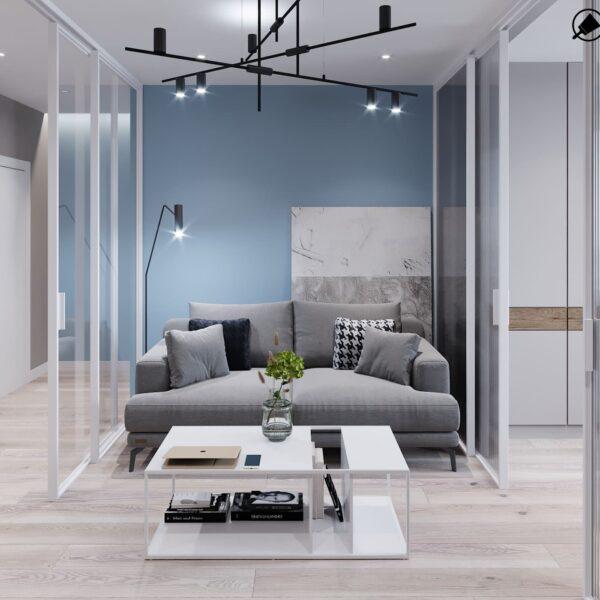 """Дизайн-проект інтер'єру трикімнатної квартири ЖК """"Пролісок"""", вітальня вид на диван"""
