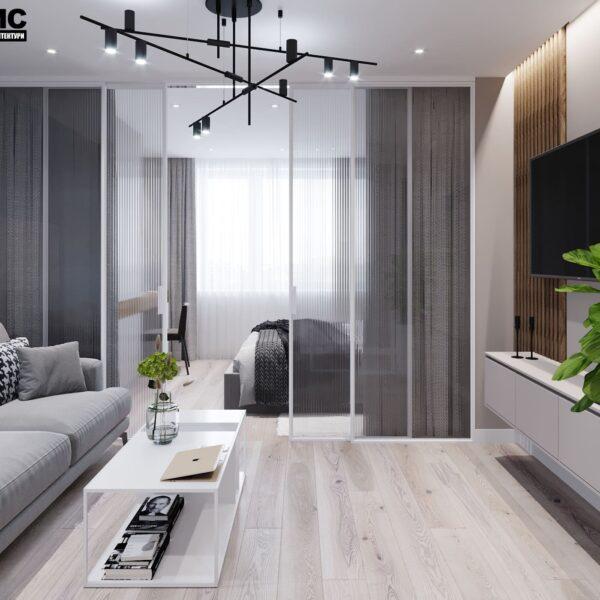 """Дизайн-проект інтер'єру трикімнатної квартири ЖК """"Пролісок"""", вітальня вид на вікно"""
