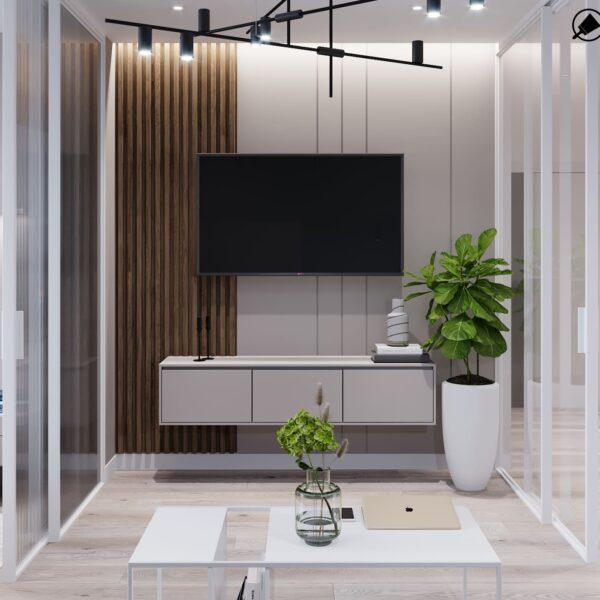 """Дизайн-проект інтер'єру трикімнатної квартири ЖК """"Пролісок"""", вітальня вид на телевізор"""
