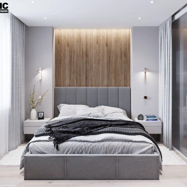 """Дизайн-проект інтер'єру трикімнатної квартири ЖК """"Пролісок"""", спальня вид на ліжко по центру"""
