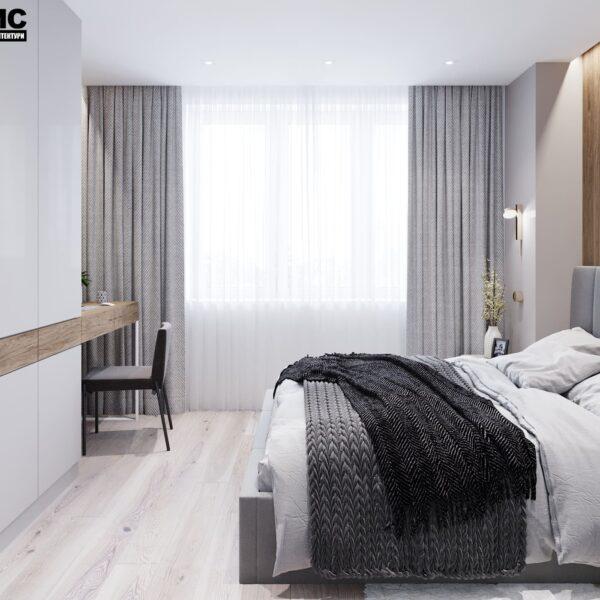 """Дизайн-проект інтер'єру трикімнатної квартири ЖК """"Пролісок"""", спальня вид на ліжко праворуч"""