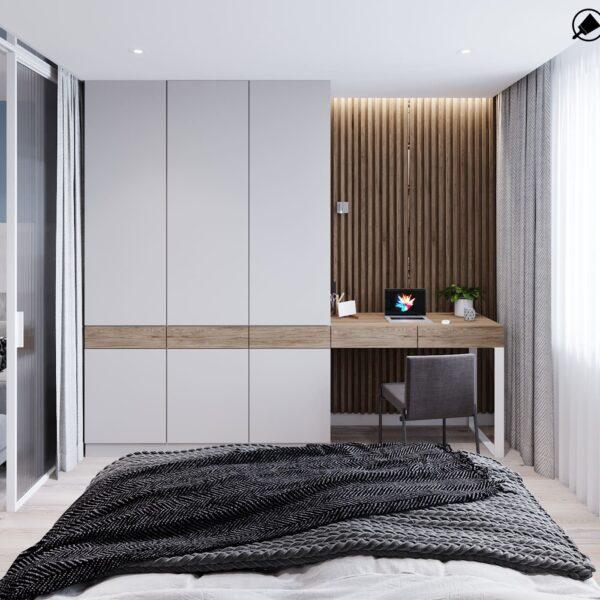 """Дизайн-проект інтер'єру трикімнатної квартири ЖК """"Пролісок"""", спальня вид на зачинену шафу"""