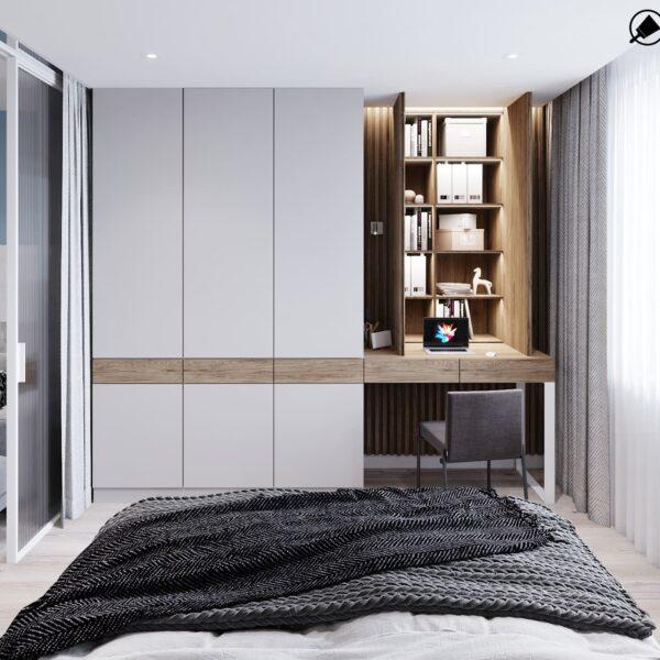 """Дизайн-проект інтер'єру трикімнатної квартири ЖК """"Пролісок"""", спальня вид на відчинену шафу"""