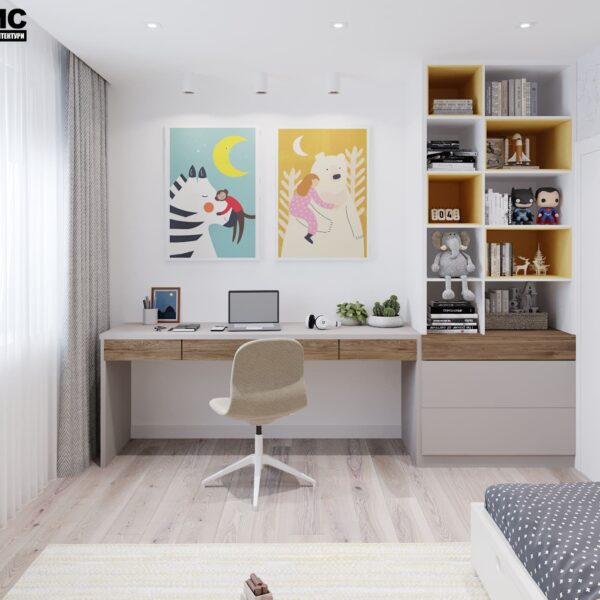 """Дизайн-проект інтер'єру трикімнатної квартири ЖК """"Пролісок"""", дитяча вид на учбову зону"""