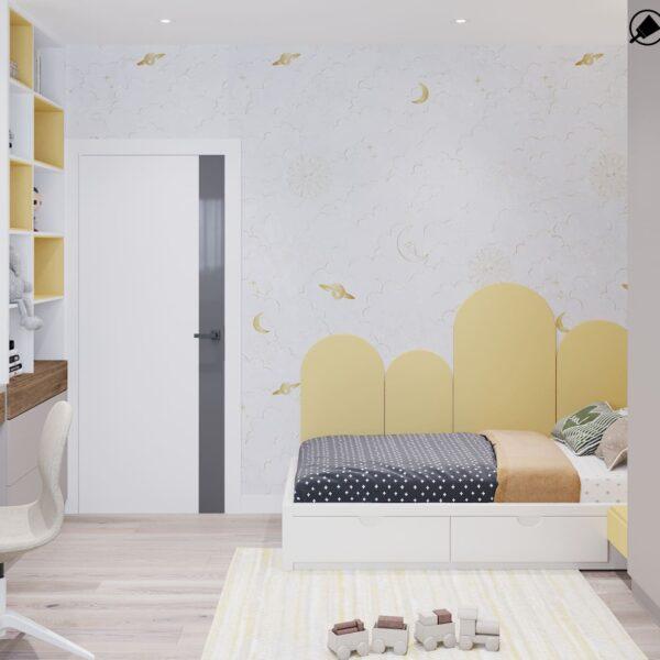 """Дизайн-проект інтер'єру трикімнатної квартири ЖК """"Пролісок"""", дитяча вид на ліжко"""