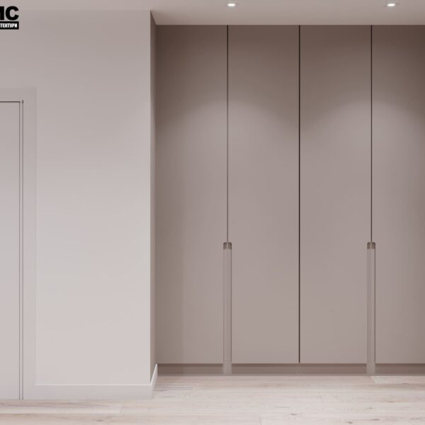 """Дизайн-проект інтер'єру трикімнатної квартири ЖК """"Пролісок"""", передпокій вид на шафу"""