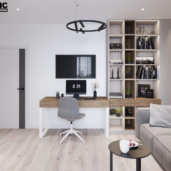 """Дизайн-проект інтер'єру трикімнатної квартири ЖК """"Пролісок"""", кабінет вид на робочу зону"""