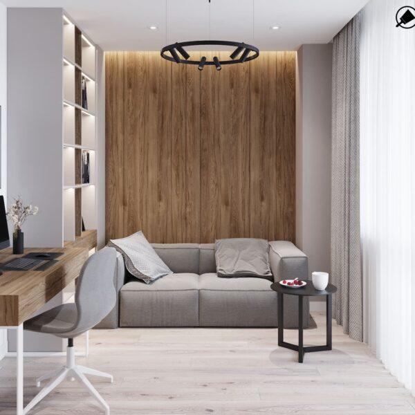 """Дизайн-проект інтер'єру трикімнатної квартири ЖК """"Пролісок"""", кабінет вид на диван"""