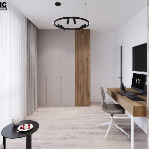 """Дизайн-проект інтер'єру трикімнатної квартири ЖК """"Пролісок"""", кабінет вид на шафу"""