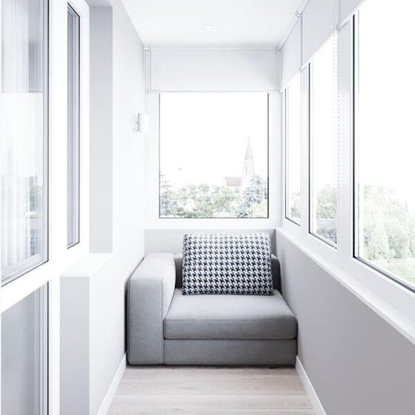 """Дизайн-проект інтер'єру трикімнатної квартири ЖК """"Пролісок"""", балкон вид ліворуч"""