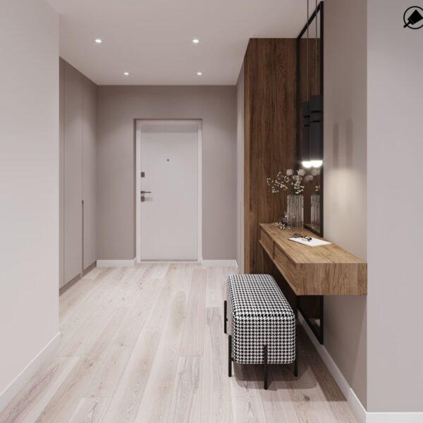 """Дизайн-проект інтер'єру трикімнатної квартири ЖК """"Пролісок"""", передпокій вид на коридор"""