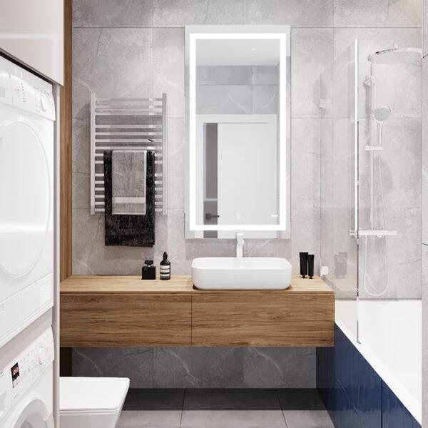 """Дизайн-проект інтер'єру трикімнатної квартири ЖК """"Пролісок"""", санвузол вид на дзеркало"""