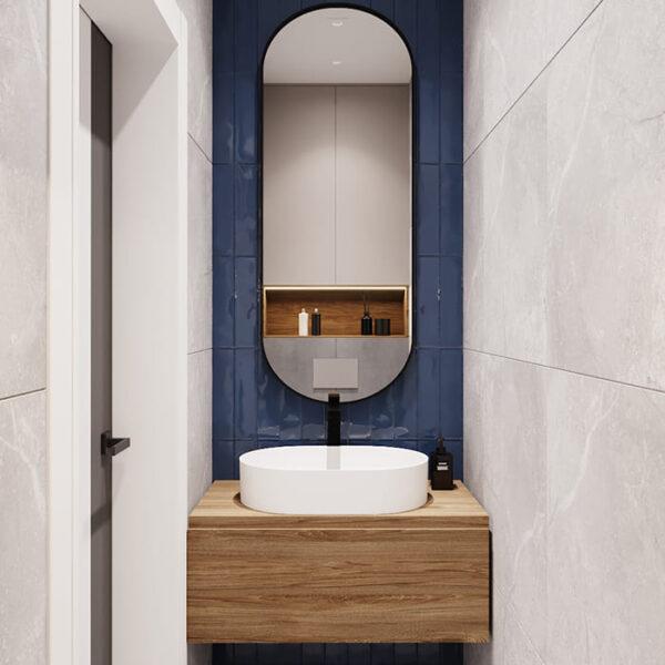 """Дизайн-проект інтер'єру трикімнатної квартири ЖК """"Пролісок"""", санвузол вид на раковину"""