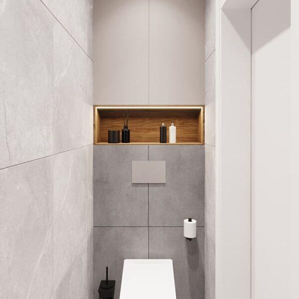 """Дизайн-проект інтер'єру трикімнатної квартири ЖК """"Пролісок"""", санвузол вид на зручності"""