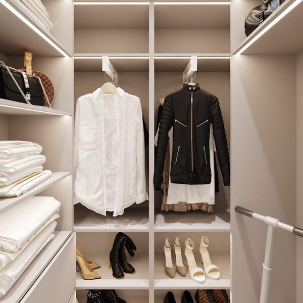 """Дизайн-проект інтер'єру трикімнатної квартири ЖК """"Пролісок"""", гардероб вид в цілому"""