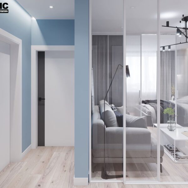 """Дизайн-проект інтер'єру трикімнатної квартири ЖК """"Пролісок"""", передпокій вид на двері"""