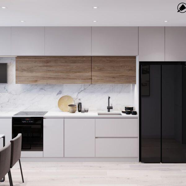 """Дизайн-проект інтер'єру трикімнатної квартири ЖК """"Пролісок"""", кухня вид в цілому"""