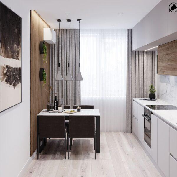 """Дизайн-проект інтер'єру трикімнатної квартири ЖК """"Пролісок"""", кухня вид на вікно"""