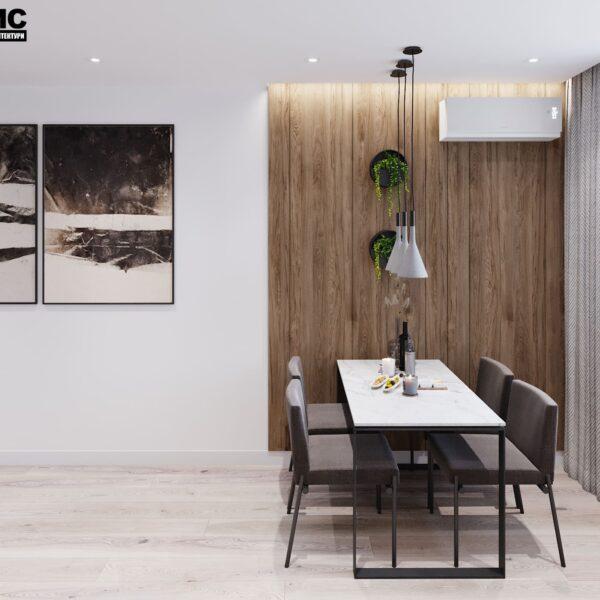 """Дизайн-проект інтер'єру трикімнатної квартири ЖК """"Пролісок"""", кухня вид на обідню зону"""