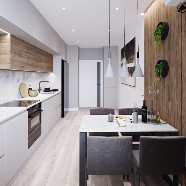 """Дизайн-проект інтер'єру трикімнатної квартири ЖК """"Пролісок"""", кухня вид від вікна"""