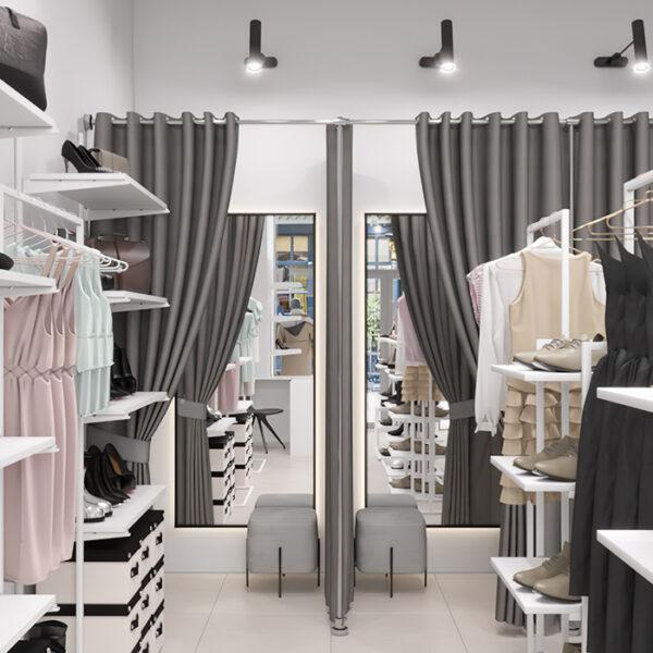 Дизайн інтер'єру магазину жіночого одягу і взуття, вид на полички з одягом1