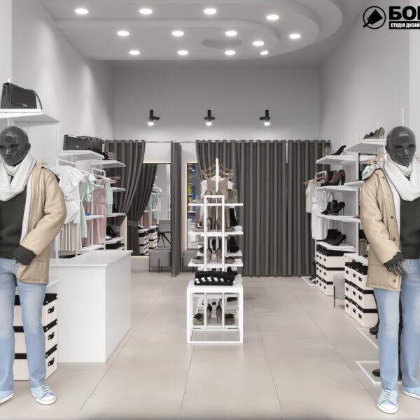 Дизайн интерьера магазина женской одежды и обуви, вид с главного входа