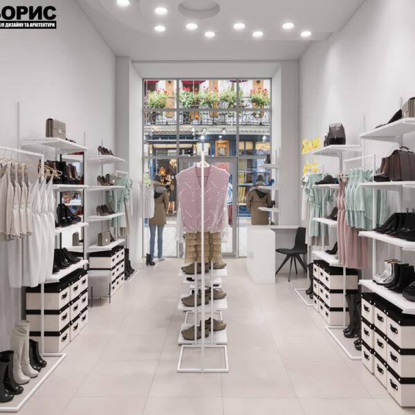 Дизайн интерьера магазина женской одежды и обуви, вид с конца зала на вход