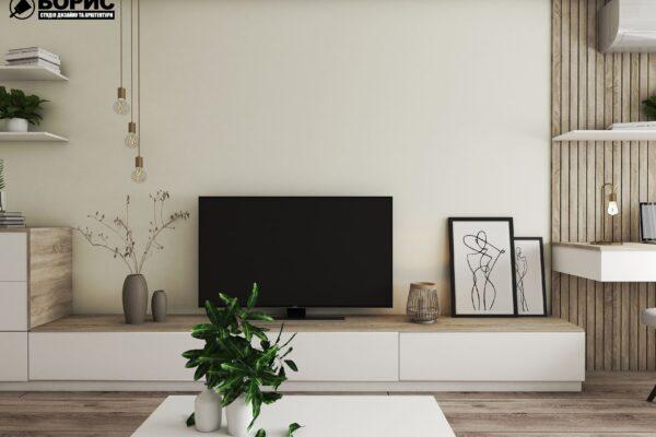 Дизайн-проект квартиры по ул. Левандовской, гостиная вид слева